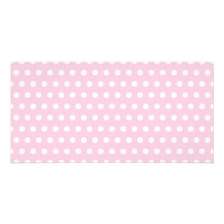 Pink and White Polka Dot Pattern. Spotty. Customized Photo Card