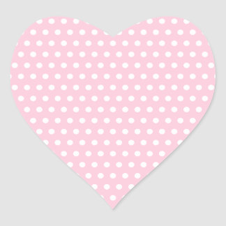Pink and White Polka Dot Pattern. Spotty. Heart Sticker