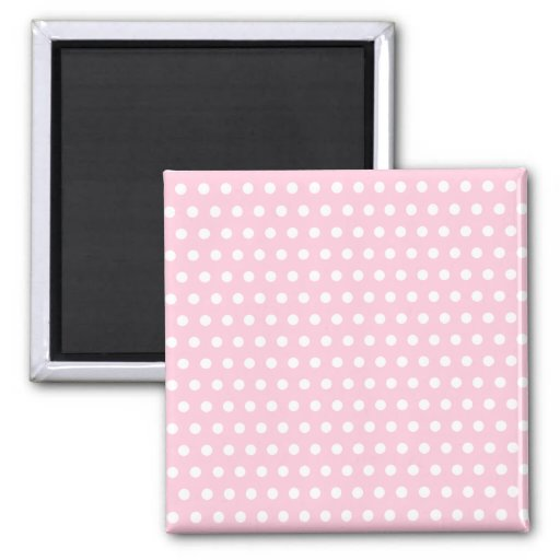 Pink and White Polka Dot Pattern. Spotty. Magnets