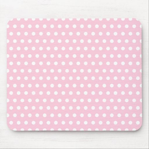 Pink and White Polka Dot Pattern. Spotty. Mousepads