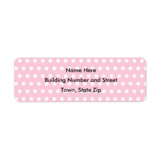 Pink and White Polka Dot Pattern. Spotty. Return Address Label
