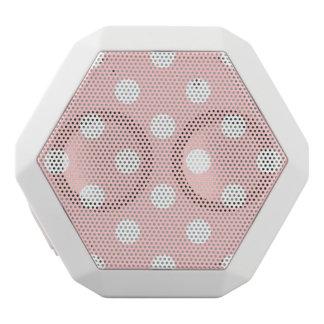 Pink and White Polka Dot Pattern White Bluetooth Speaker