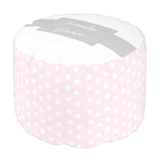 Pink and White Polka Dot Personalized Pouf
