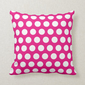 Pink and white Polka dot Throw Pillow
