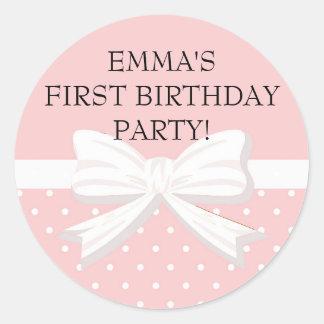 Pink and White Polka Dot w/ Bow Birthday Sticker