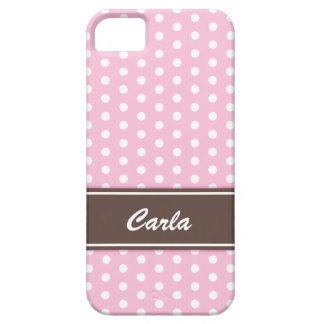 Pink and white polka dots iPhone 5 case