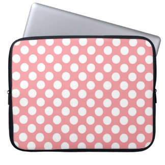Pink and white polka dots pattern laptop sleeve