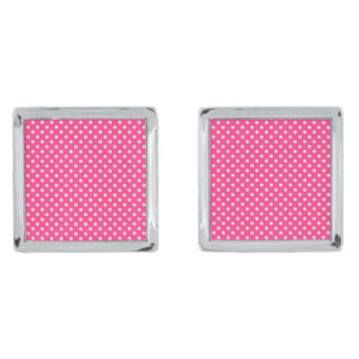 Pink and White Polka Dots Pattern Silver Finish Cufflinks