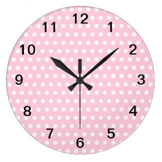 Pink and White Polka Dots Pattern. Wallclocks