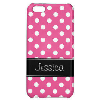 Pink and White Polka Dots Personalized iPhone 5C Case