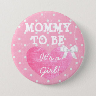 Pink and White Polka Dotted Mommy To Be Button