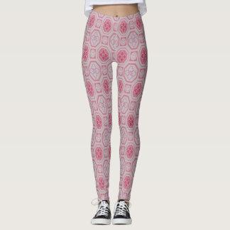 Pink and White Print Design Leggings