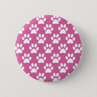 Pink and white puppy paws pattern 6 cm round badge