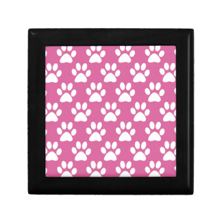 Pink and white puppy paws pattern gift box