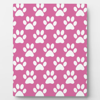 Pink and white puppy paws pattern plaque