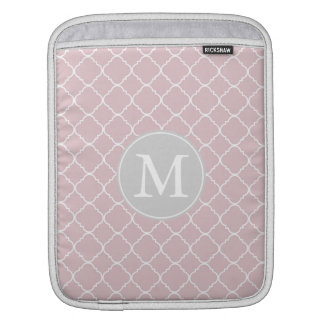 Pink and White Quatrefoil Monogram Sleeves For iPads