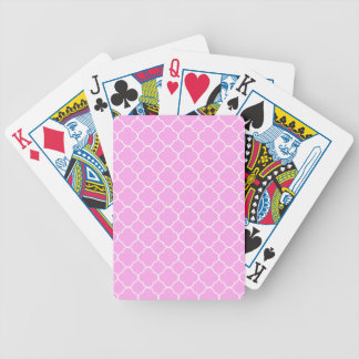 Pink And White Quatrefoil Pattern Bicycle Playing Cards