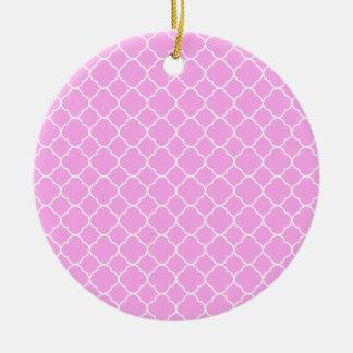 Pink And White Quatrefoil Pattern Ceramic Ornament