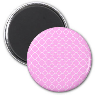 Pink And White Quatrefoil Pattern Magnet