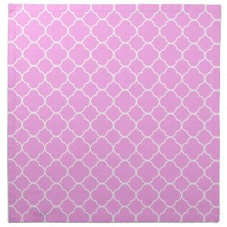 Pink And White Quatrefoil Pattern Napkin