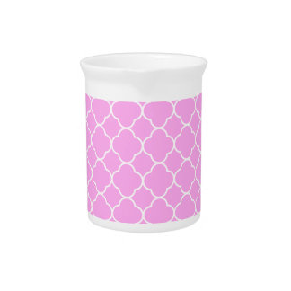 Pink And White Quatrefoil Pattern Pitcher