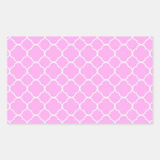 Pink And White Quatrefoil Pattern Rectangular Sticker