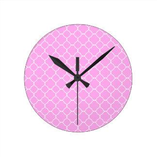 Pink And White Quatrefoil Pattern Round Clock