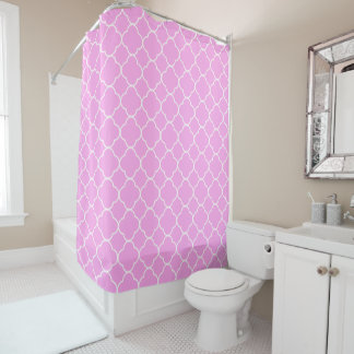 Pink And White Quatrefoil Pattern Shower Curtain
