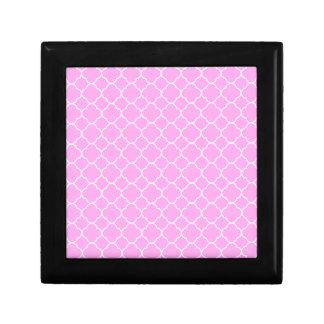 Pink And White Quatrefoil Pattern Small Square Gift Box