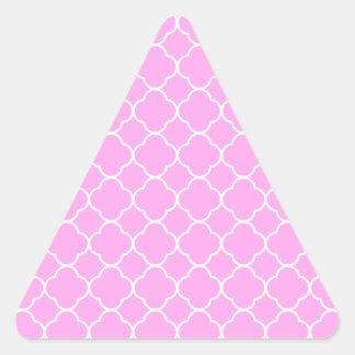 Pink And White Quatrefoil Pattern Triangle Sticker