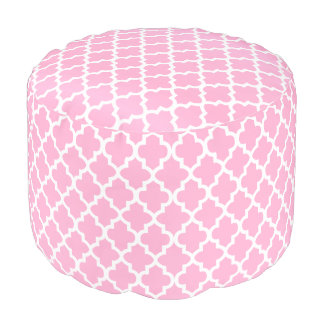 Pink and White Quatrefoil Pouf