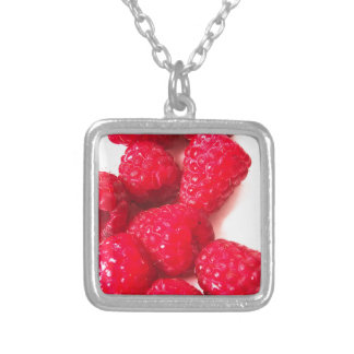 Pink and White Raspberry - Fruit Print Silver Plated Necklace
