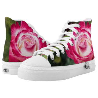 Pink and White Rose High Top Zipz Sneakers