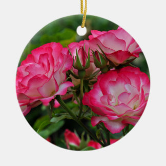 Pink and white roses ceramic ornament