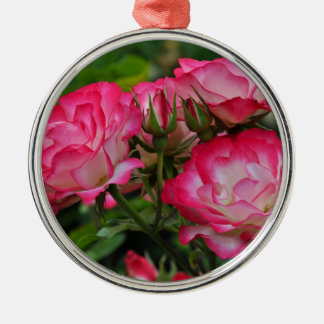 Pink and white roses metal ornament