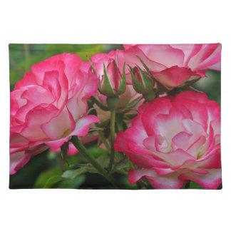 Pink and white roses placemat