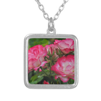 Pink and white roses silver plated necklace