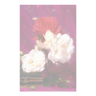 Pink and white roses stationery paper