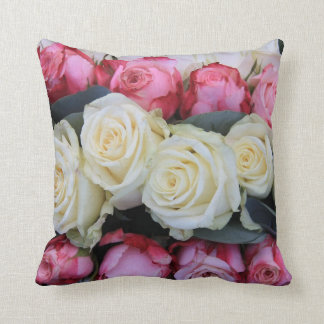pink and white roses throw pillow
