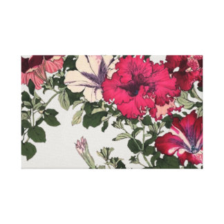 Pink and White Ruffled Petunias Vintage Canvas Print