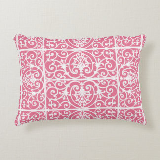Pink and white scrollwork decorative cushion