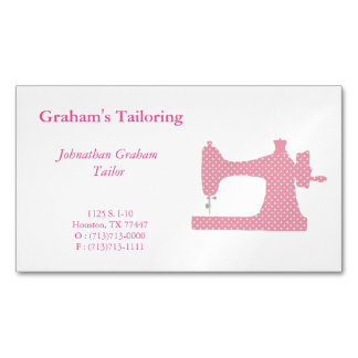 Pink and White Sewing Machine Business Card Magnet Magnetic Business Cards