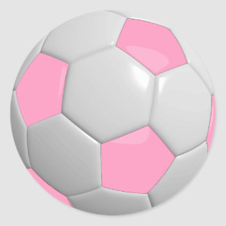 Pink and White Soccer Ball Round Sticker