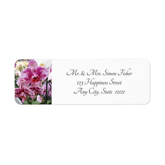 Pink And White Splotched Orchids Return Address Label