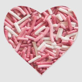 Pink and white sprinkles heart sticker