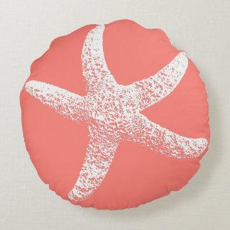 Pink and white Starfish Round Pillow