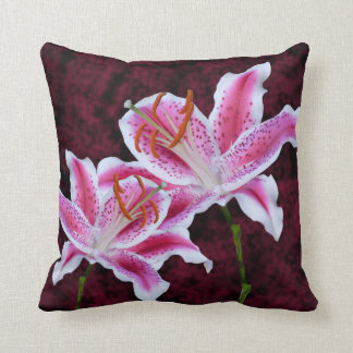 Pink and White Stargazer Lily Close Up Photograph Cushion