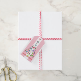 Pink and White Stripe Christmas Greeting Gift Tags