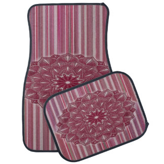 Pink and White Stripe Floral Set of 4 Car Mats