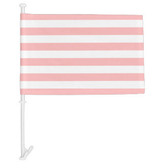 Pink and White Stripe Pattern Car Flag